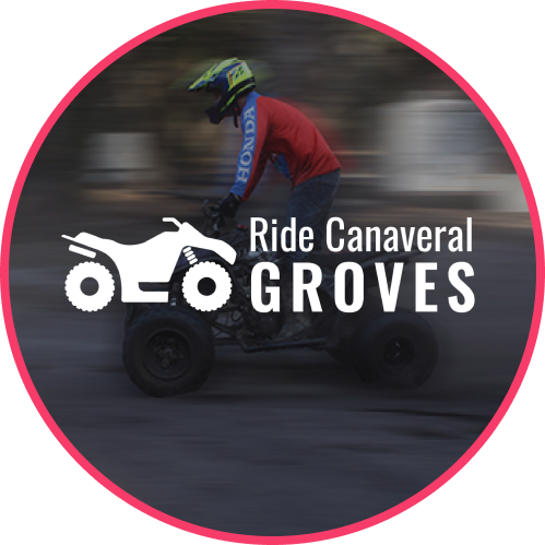 Ride Canaveral Groves Logo overlay on an image of someone riding an ATV.